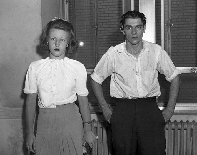 19-летняя Вирджиния Орнамрк и 24-летний Фред Шмидт, обвиняются в убийстве, 1944 год.