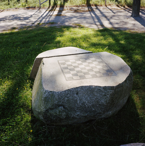 Halden Prison, Norway, June 2014: A chessboard made of solid rock in the yard. -- No commercial use -- Photo: Knut Egil Wang/Moment/INSTITUTE