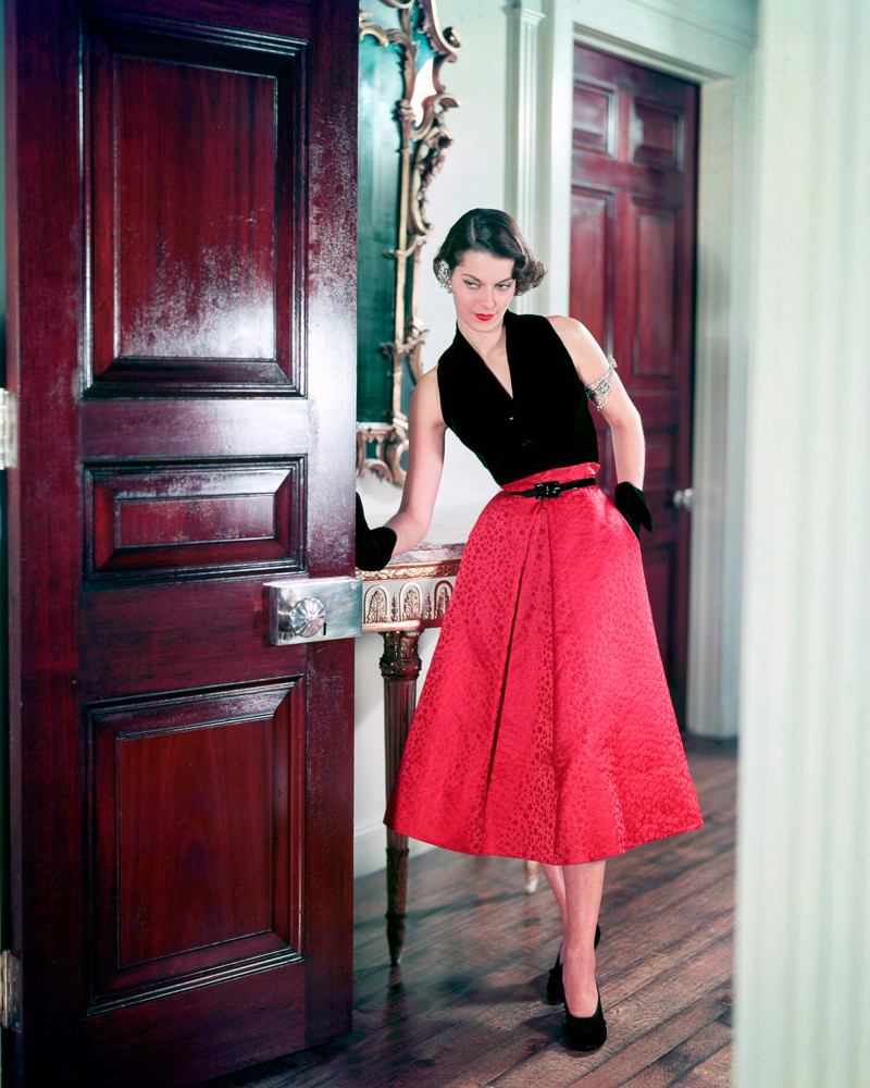 1950 --- Modeling Halter-top and Skirt --- Image by © Genevieve Naylor/Corbis
