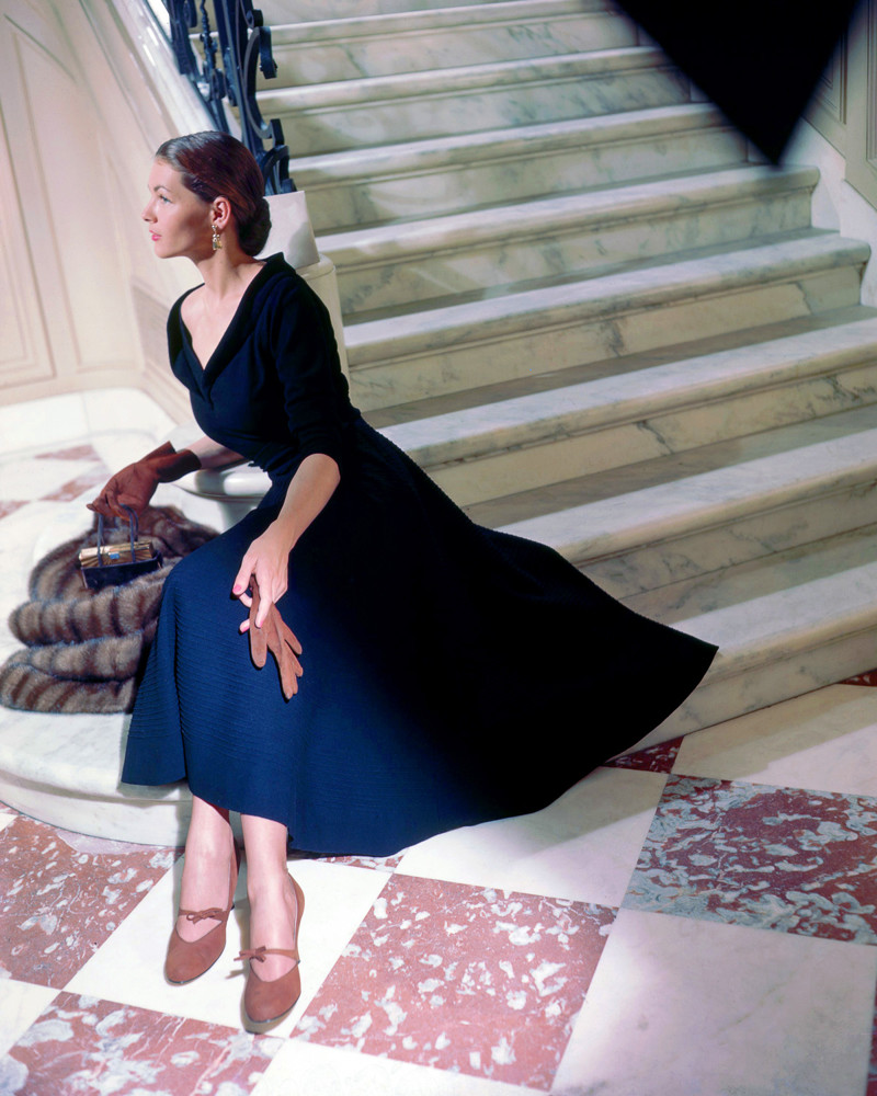 1949 --- Modeling Black Dinner Dress by Martini --- Image by © Genevieve Naylor/Corbis