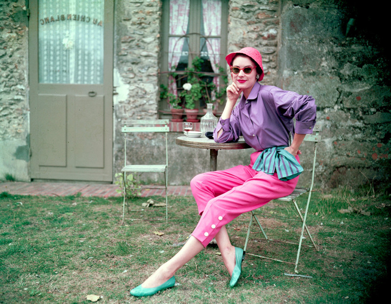 1954, Paris, France --- Modeling an Outfit Designed by Capri --- Image by © Genevieve Naylor/Corbis