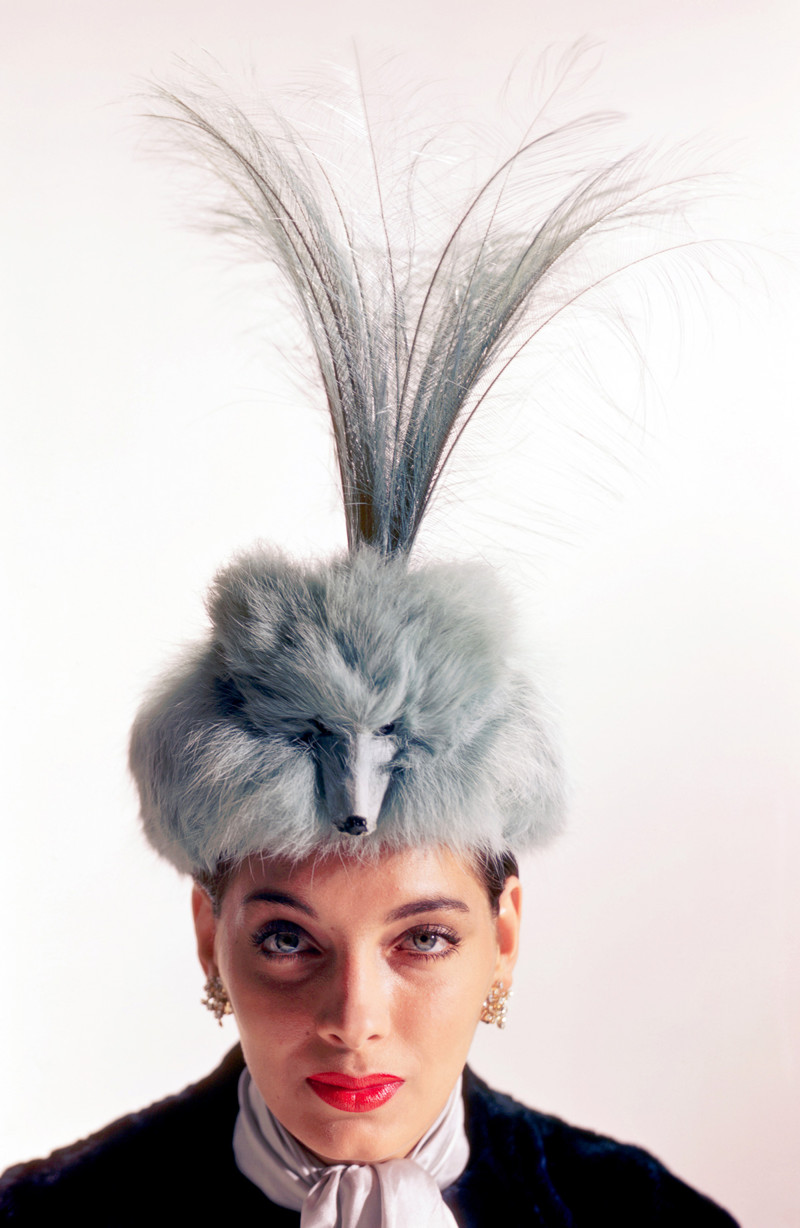 1950 --- Modeling a Fox Fur Hat by John Frederics --- Image by © Genevieve Naylor/Corbis