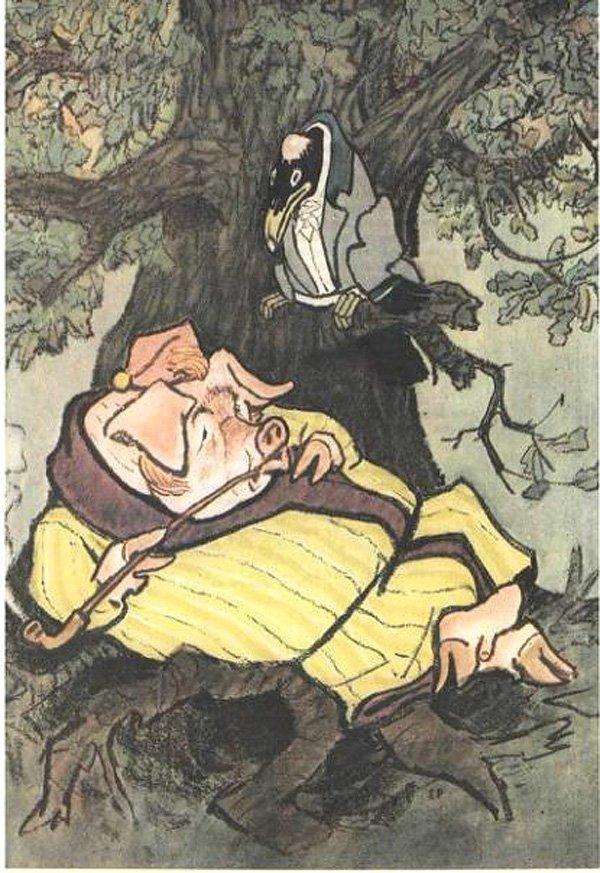 Иллюстрация к басне И.А. Крылова «Свинья под дубом»